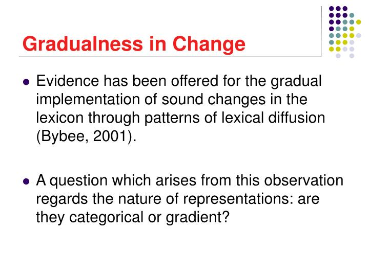 Gradualness in Change