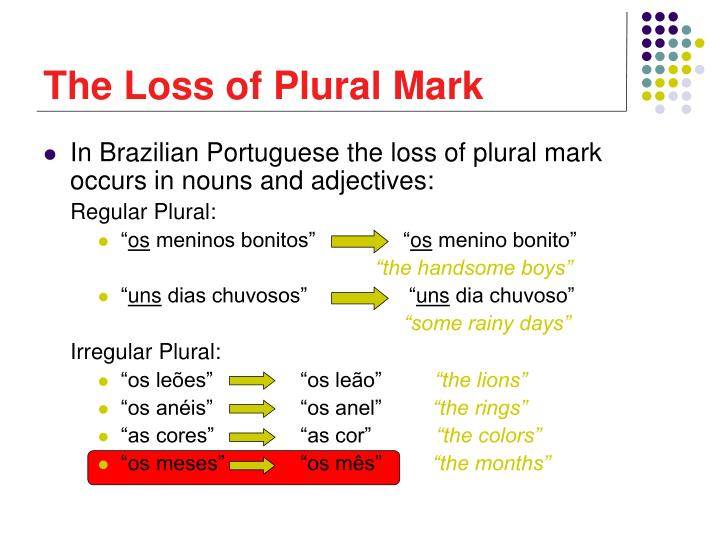 The Loss of Plural Mark