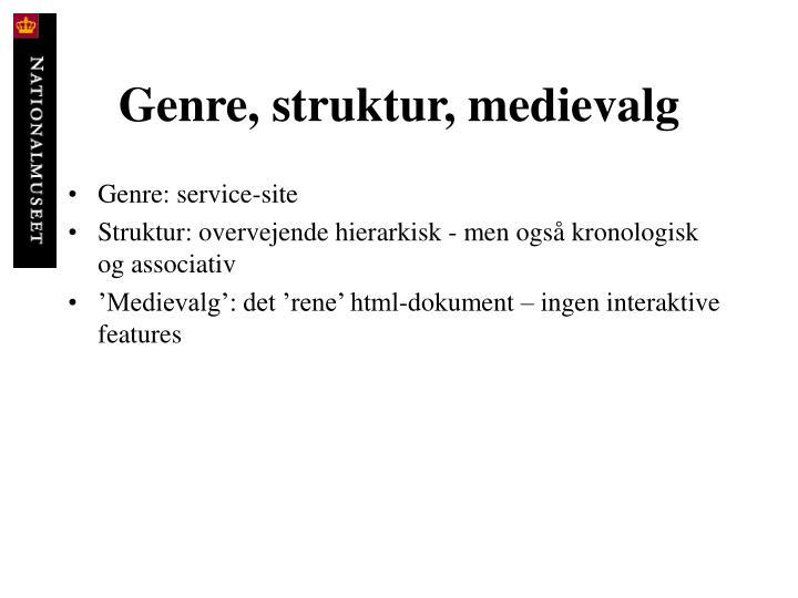 Genre, struktur, medievalg