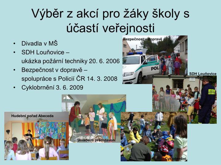 Výběr z akcí pro žáky školy s účastí veřejnosti