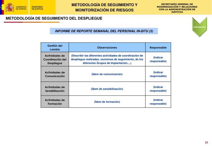 METODOLOGÍA DE SEGUIMIENTO Y MONITORIZACIÓN DE RIESGOS