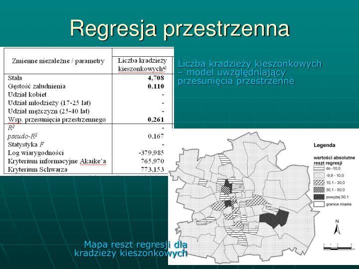 Mapa reszt regresji dla kradzieży kieszonkowych