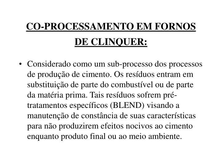CO-PROCESSAMENTO EM FORNOS DE CLINQUER: