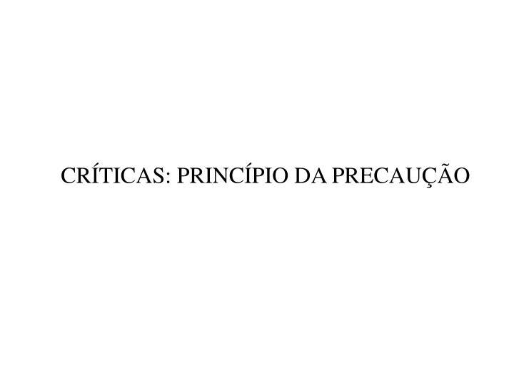 CRTICAS: PRINCPIO DA PRECAUO