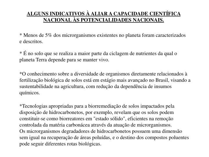 ALGUNS INDICATIVOS  ALIAR A CAPACIDADE CIENTFICA NACIONAL S POTENCIALIDADES NACIONAIS.