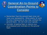 general air to ground coordination points to consider