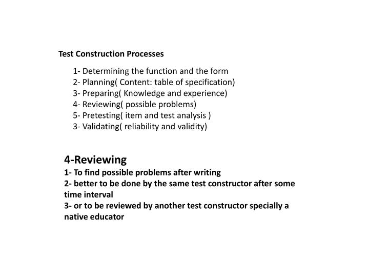Test Construction Processes