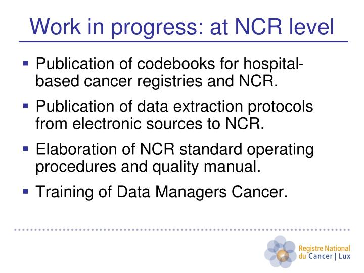 Publication of codebooks for hospital-based cancer registries and NCR.