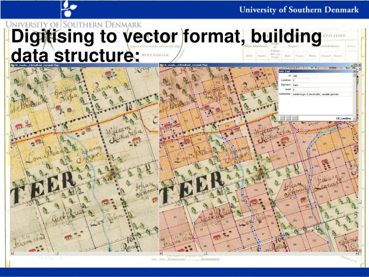 Digitising to vector format, building data structure: