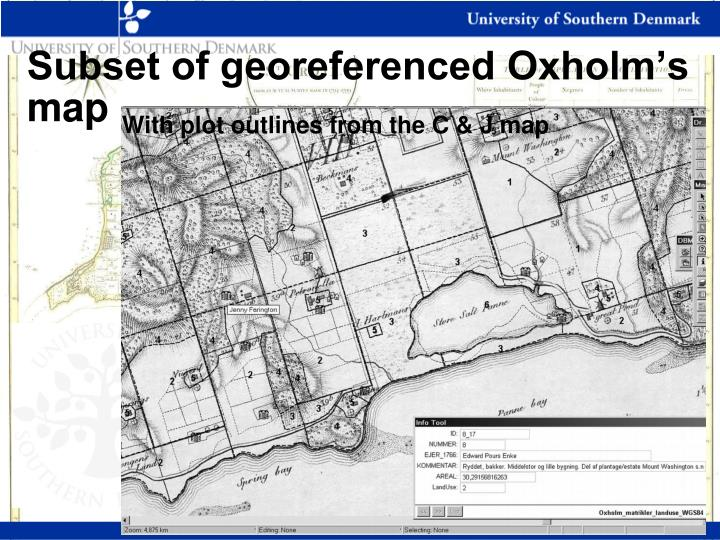 Subset of georeferenced Oxholm's map