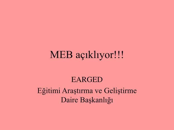 MEB açıklıyor!!!