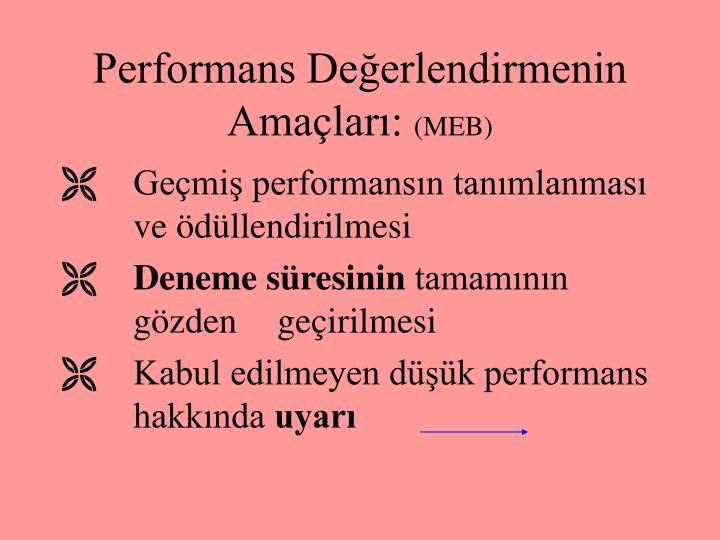 Performans Değerlendirmenin Amaçları: