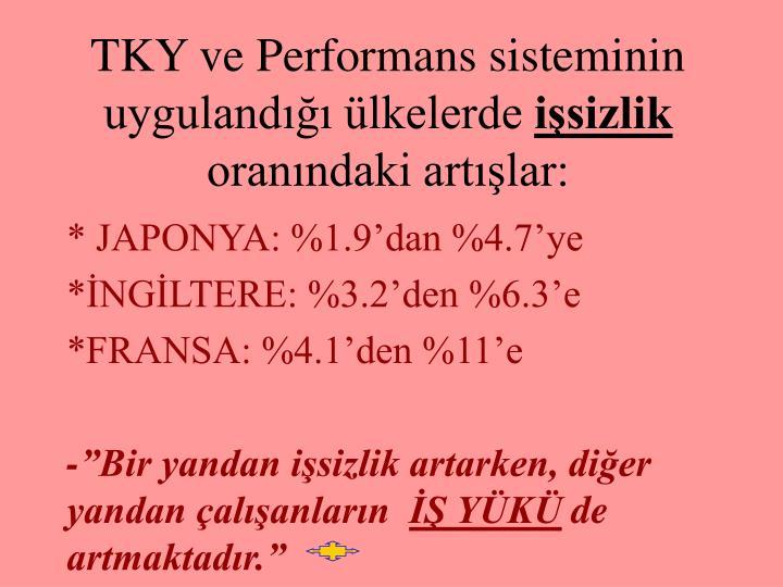 TKY ve Performans sisteminin uygulandığı ülkelerde