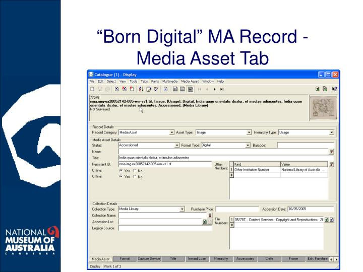 """Born Digital"" MA Record - Media Asset Tab"