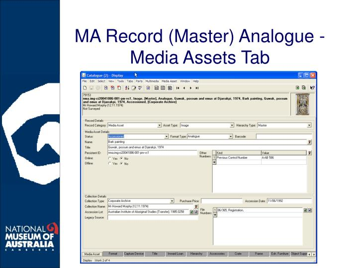 MA Record (Master) Analogue - Media Assets Tab