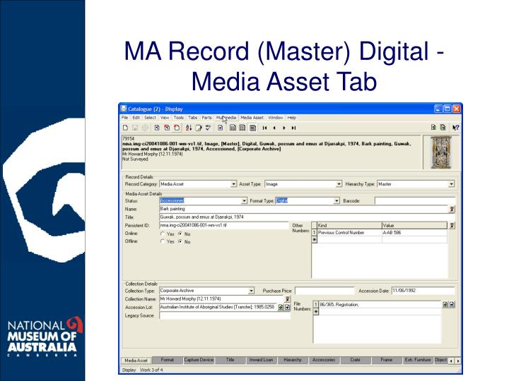 MA Record (Master) Digital - Media Asset Tab