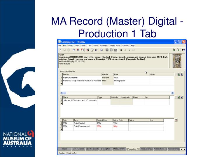 MA Record (Master) Digital - Production 1 Tab