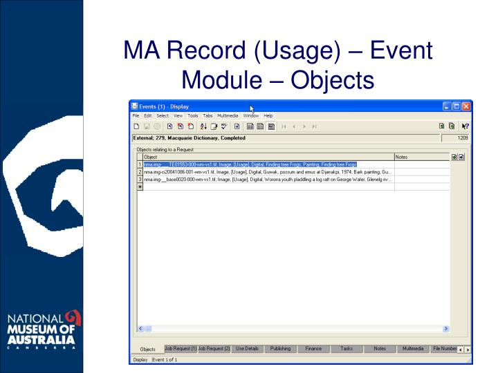 MA Record (Usage) – Event Module – Objects