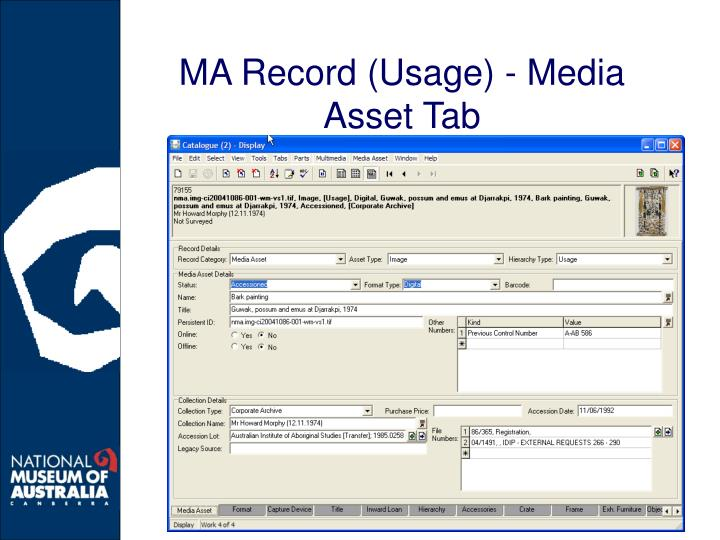 MA Record (Usage) - Media Asset Tab