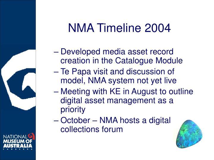 NMA Timeline 2004