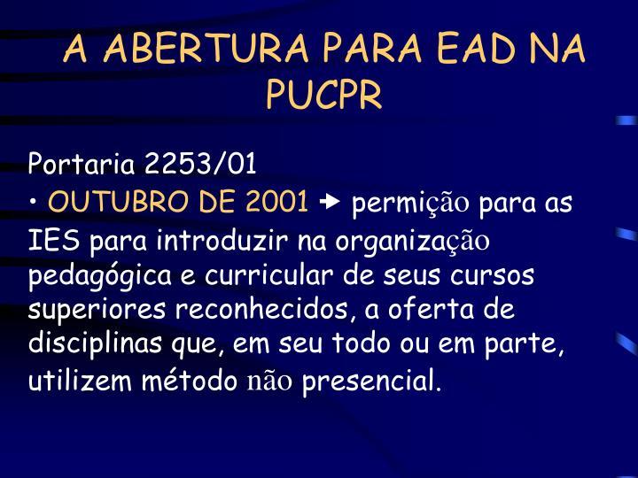 A ABERTURA PARA EAD NA PUCPR