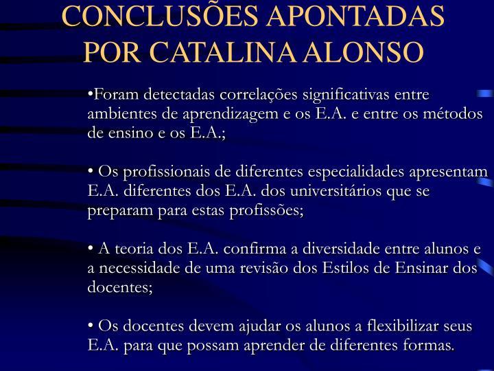 CONCLUSÕES APONTADAS POR CATALINA ALONSO