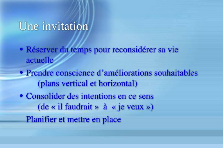 Une invitation