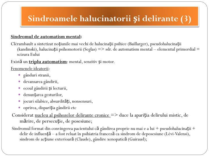 Sindroamele halucinatorii şi delirante (3)