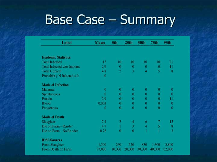 Base Case – Summary