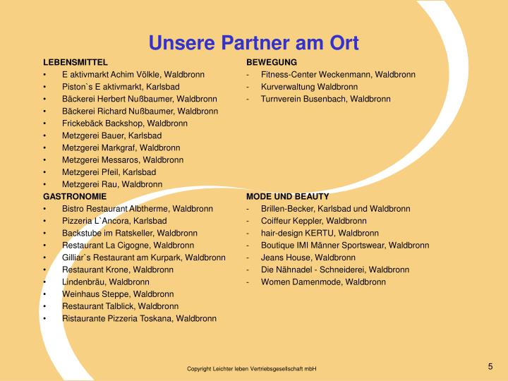 Unsere Partner am Ort