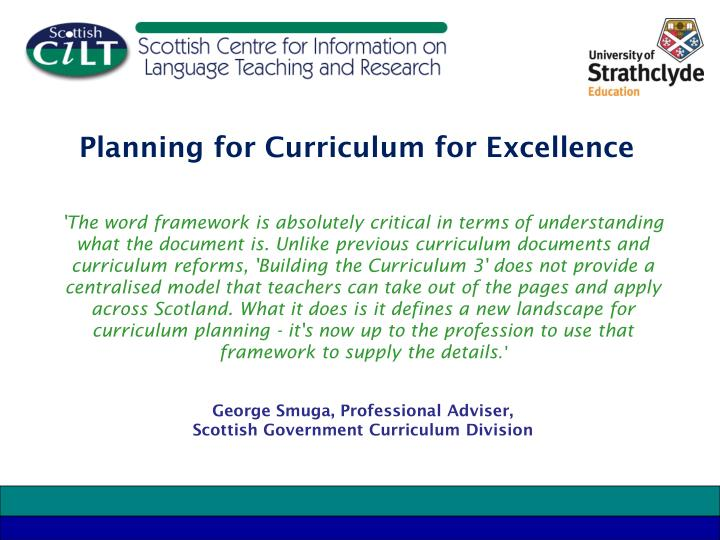 Planning for Curriculum for Excellence