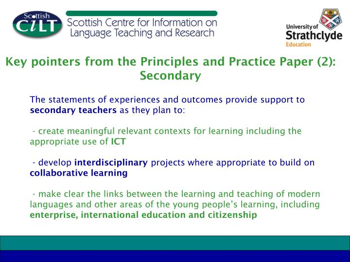 Key pointers from the Principles and Practice Paper (2): Secondary