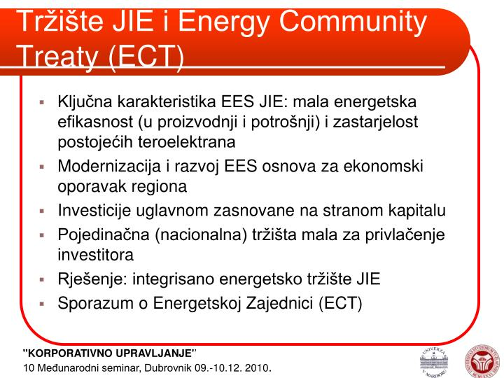 Tržište JIE i Energy Community Treaty (ECT)