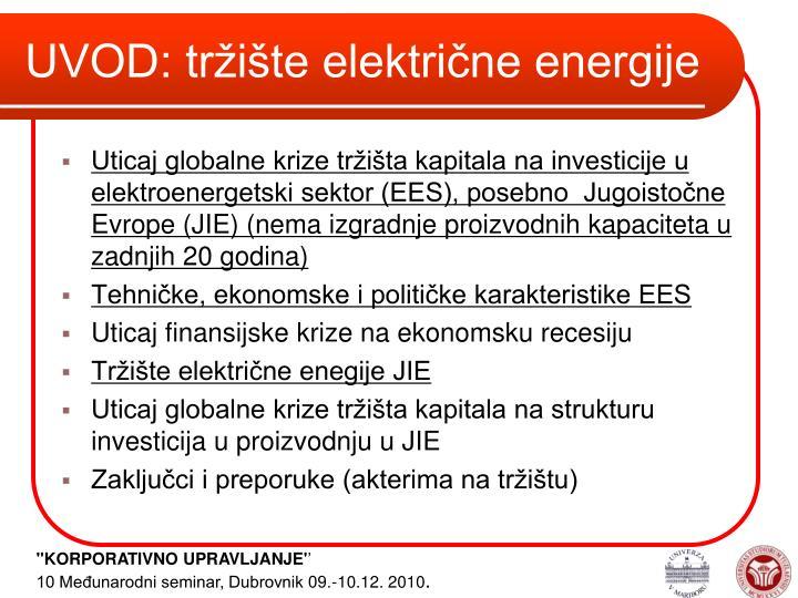 UVOD: tržište električne energije