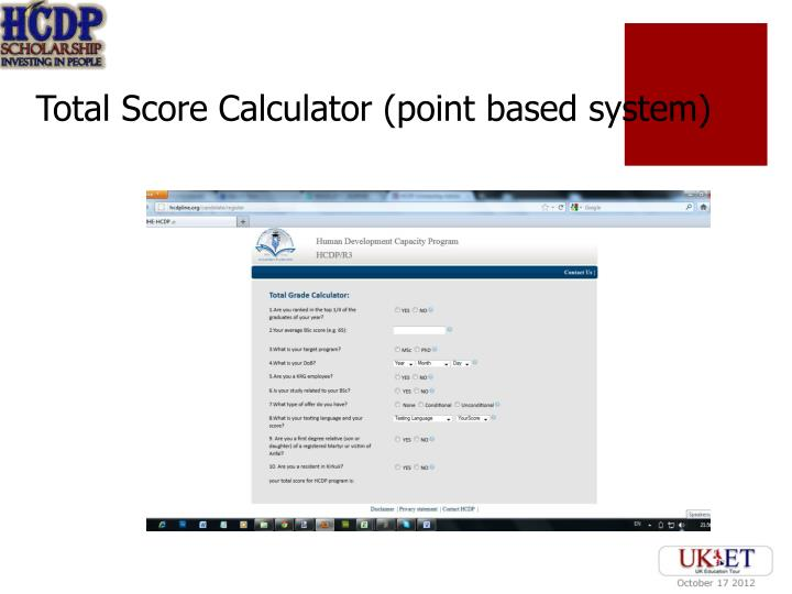 Total Score Calculator (point based system)