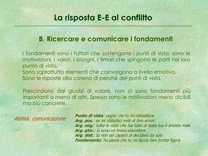 La risposta E-E al conflitto