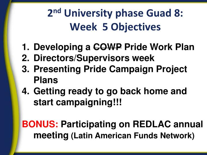 2 nd university phase guad 8 week 5 objectives