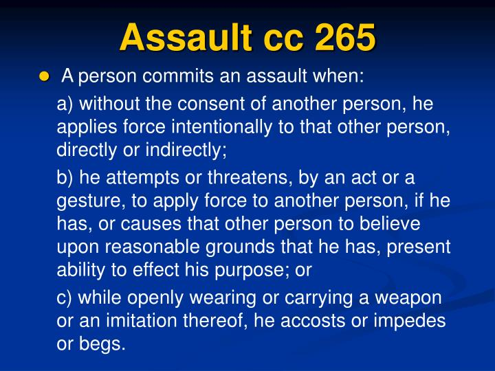 Assault cc 265