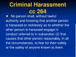 criminal harassment cc 264