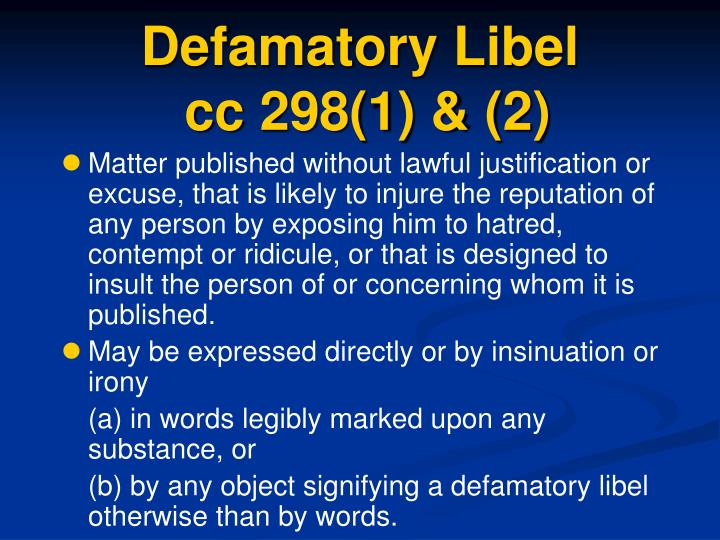 Defamatory Libel