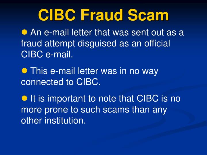 CIBC Fraud Scam