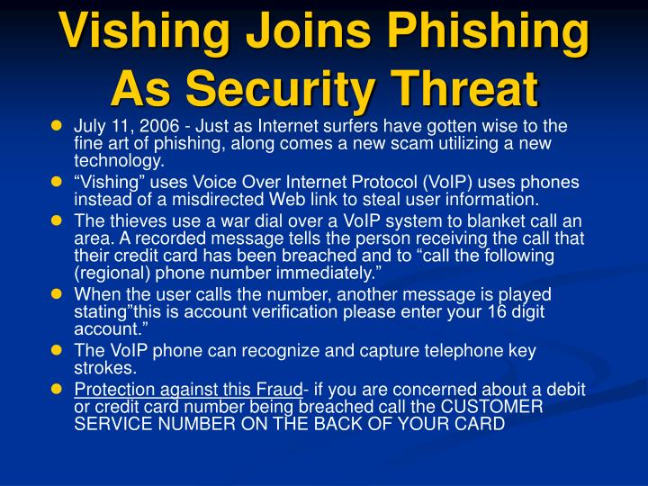 Vishing Joins Phishing