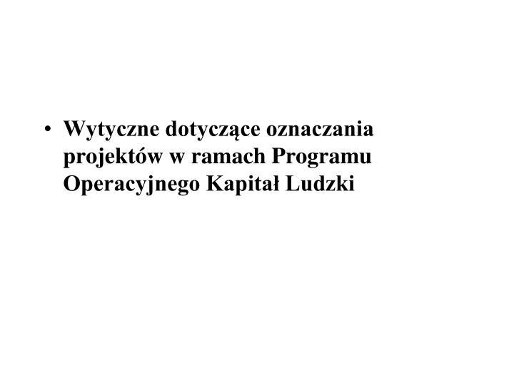 Wytyczne dotyczące oznaczania projektów w ramach Programu Operacyjnego Kapitał Ludzki