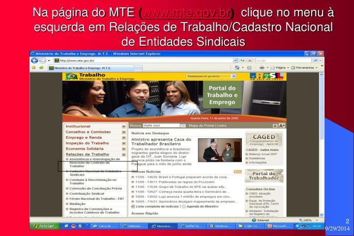 Na página do MTE
