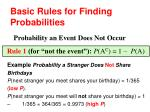 basic rules for finding probabilities