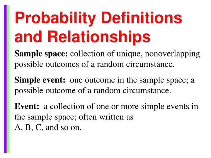 Probability Definitions and Relationships