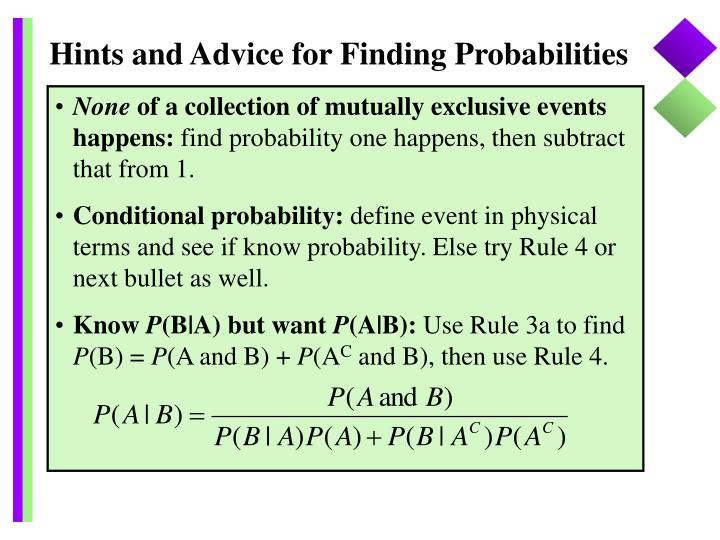 Hints and Advice for Finding Probabilities