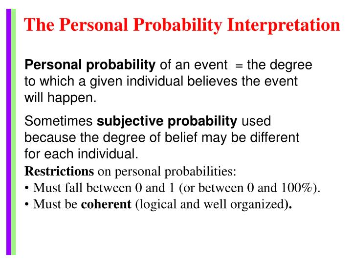 The Personal Probability Interpretation