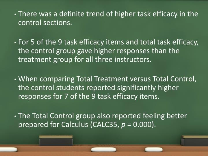 There was a definite trend of higher task efficacy in the control sections.
