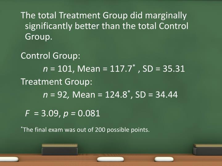 The total Treatment Group did marginally significantly better than the total Control Group.